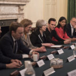 Prime Minister Theresa May holds a Tech Sector Roundtable and Reception at No10 Downing Street. PM May holds roundtable in the famous Cabinet Room for members from the Tech Sector followed by a Reception at No10. Image obtained by No 10 Flickr.